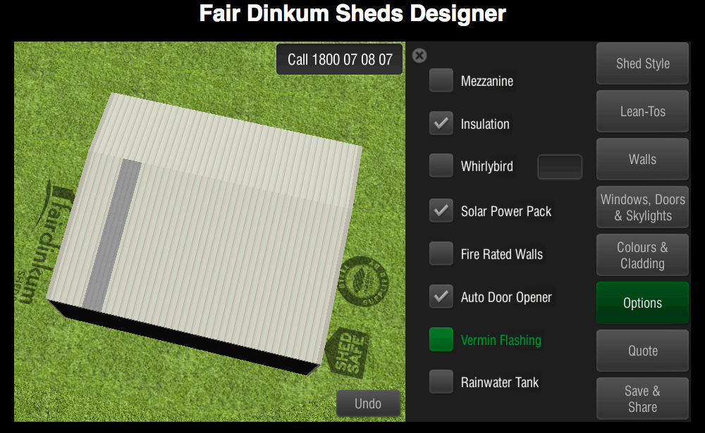 Fair Dinkum Sheds Designer Options