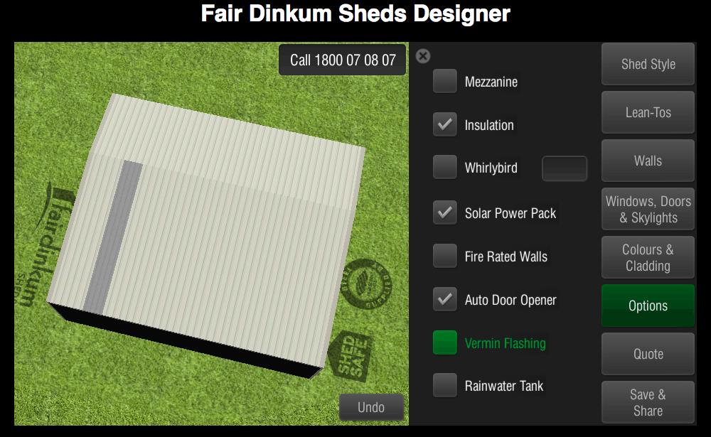 Fair Dinkum Sheds Designer Options