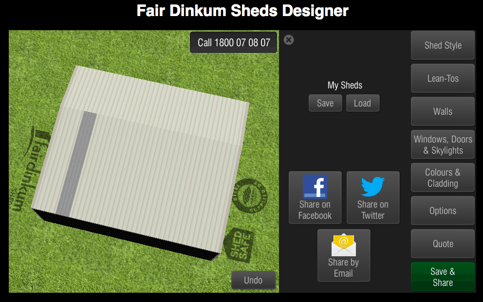 Fair Dinkum Sheds Designer Save & Share