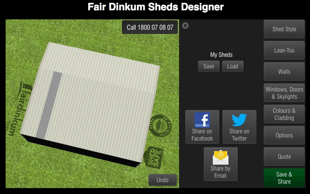 Fair Dinkum Sheds Designer Save & Share