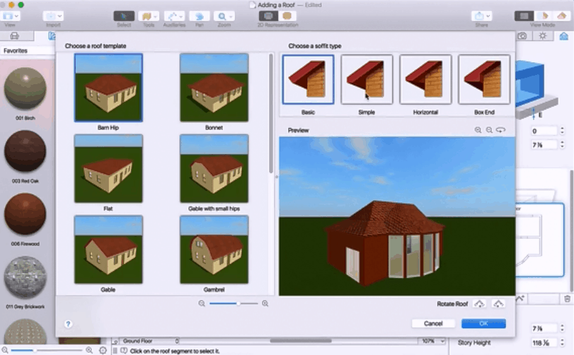 Live Home 3D Adding a Roof