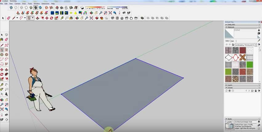 SketchUp Step 1: Drawing a Rectangle