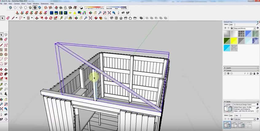 SketchUp Step 19: Rafter Framing