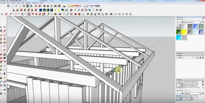 SketchUp Step 23: Rafter Framing