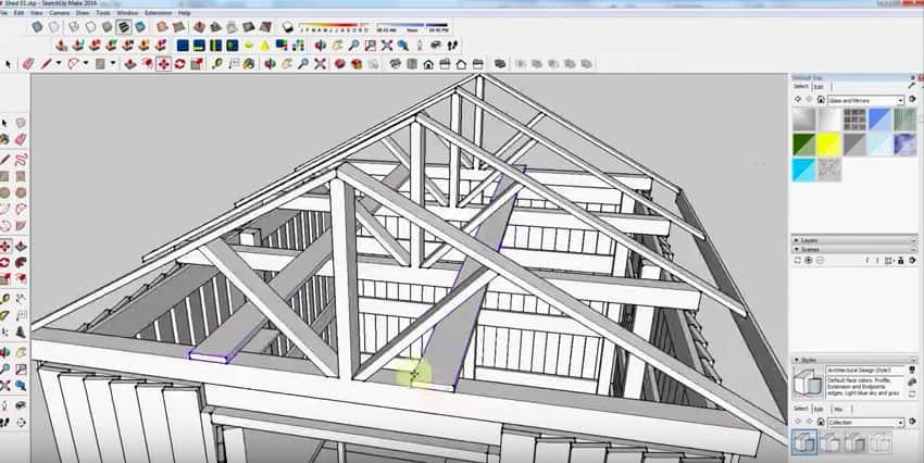 SketchUp Step 24: Rafter Framing