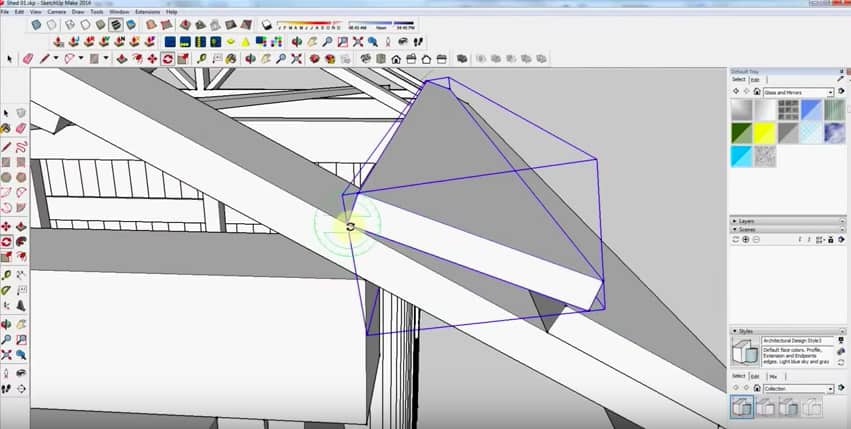 SketchUp Step 25: Rafter Framing