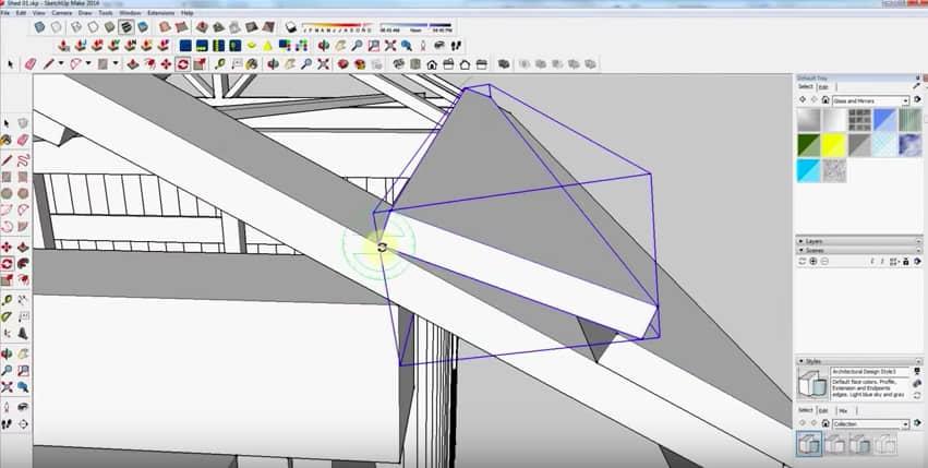 SketchUp Step 25: Rafter Framing