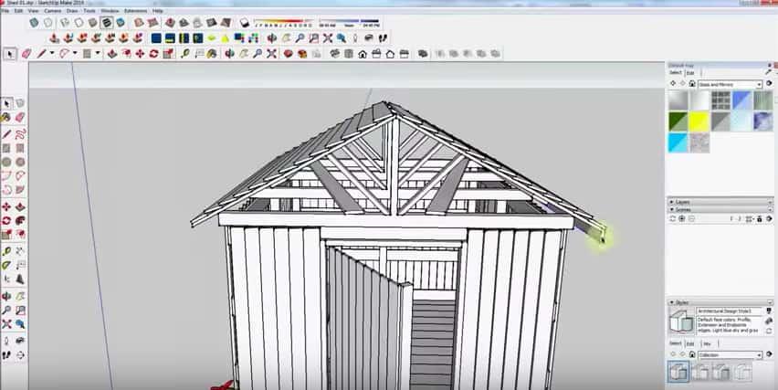SketchUp Step 26: Rafter Framing