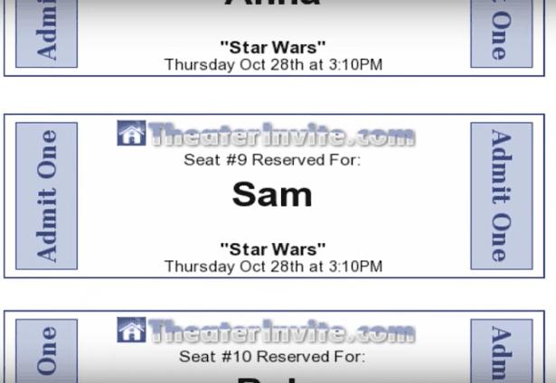 Room Builder Movie Tickets
