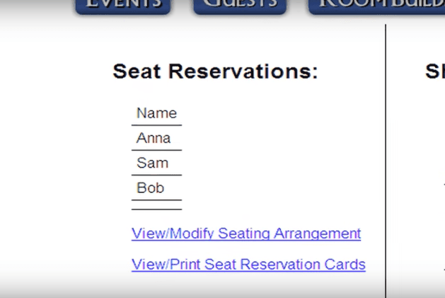 Room Builder Seat Reservations