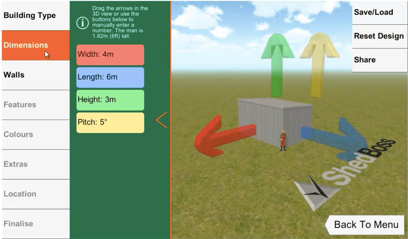 ShedBoss App Dimensions
