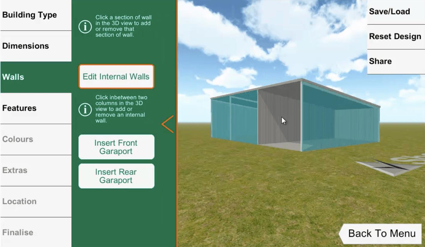 ShedBoss App Internal Walls
