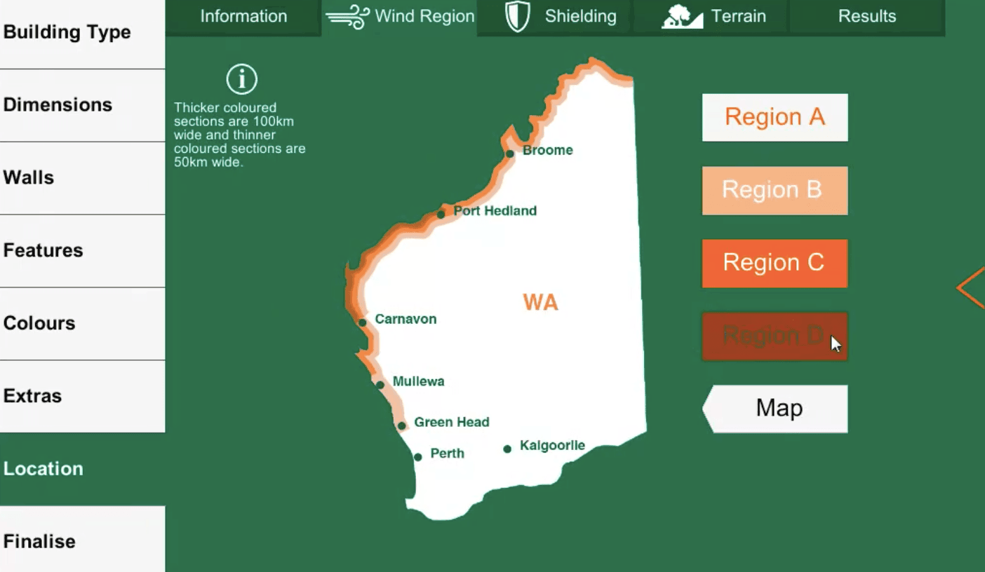 ShedBoss App Wind Region