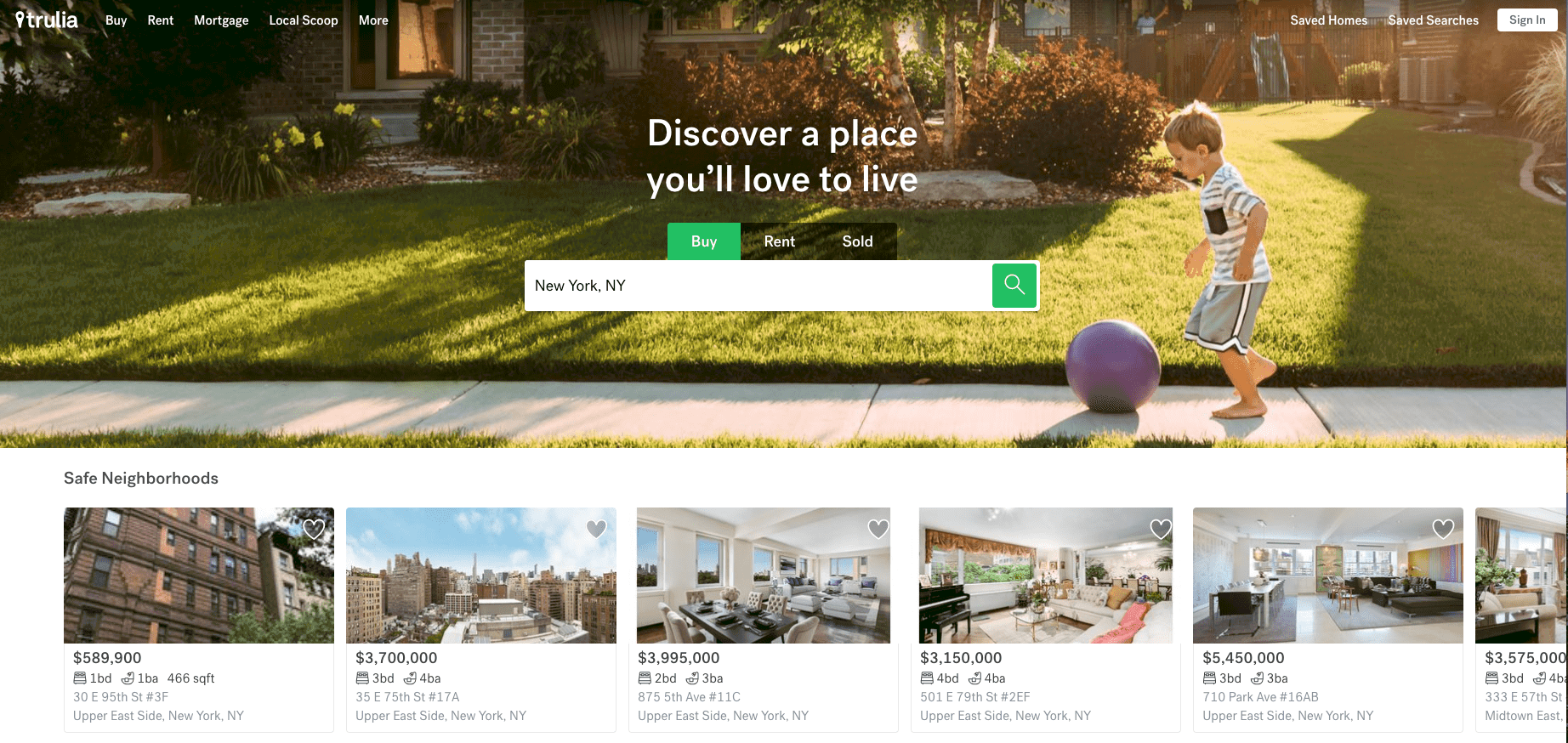 Trulia website home page as Zillow altnerative