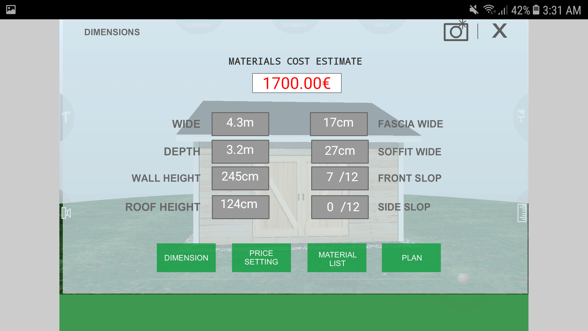 Udesignit 3D Garage Shed Material Cost Estimate