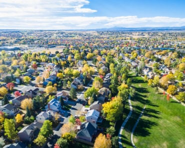 Aerial view of neighborhood in autumn