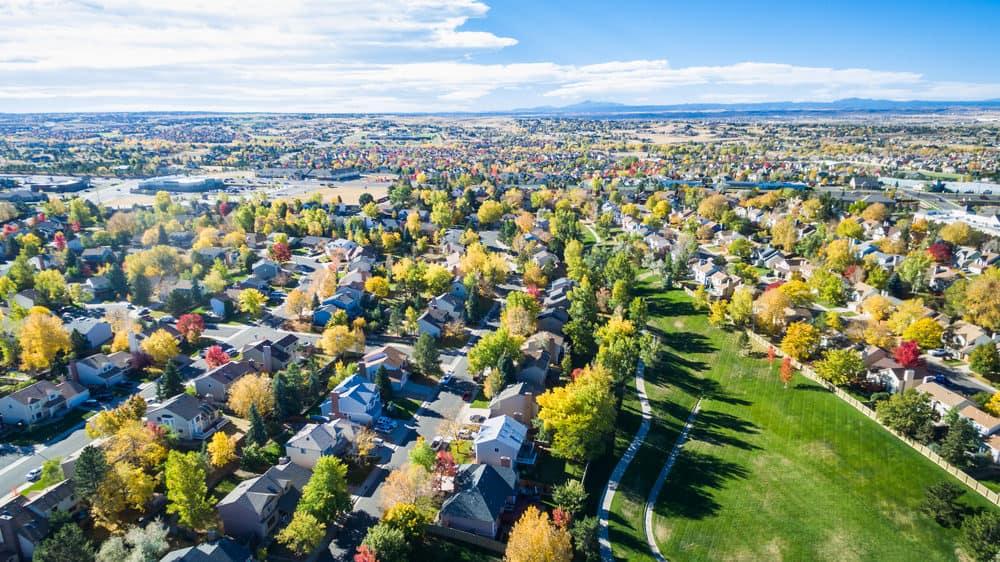Aerial view of neighborhood in autumn