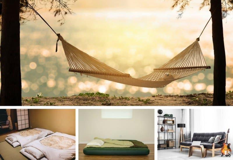 Several mattress alternatives in photo collage
