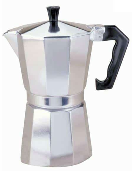 Aluminum stovetop espresso maker with a contemporary finish.