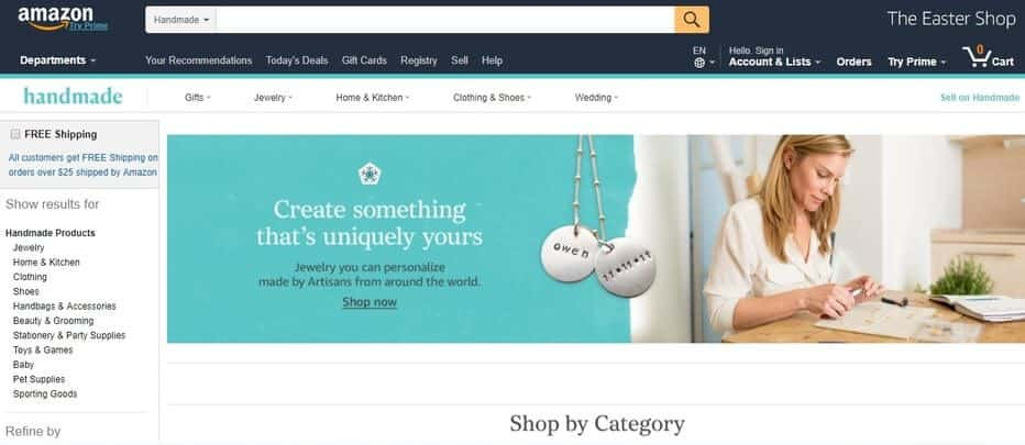 Amazon's home page.