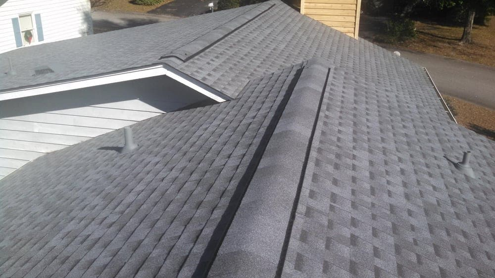 Gray roof with architectural shingles.