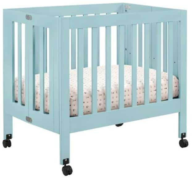 Beach-style mini crib in Baby Blue.