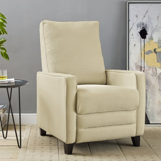 Push-back recliner with a linen-looking fabric in Beige.