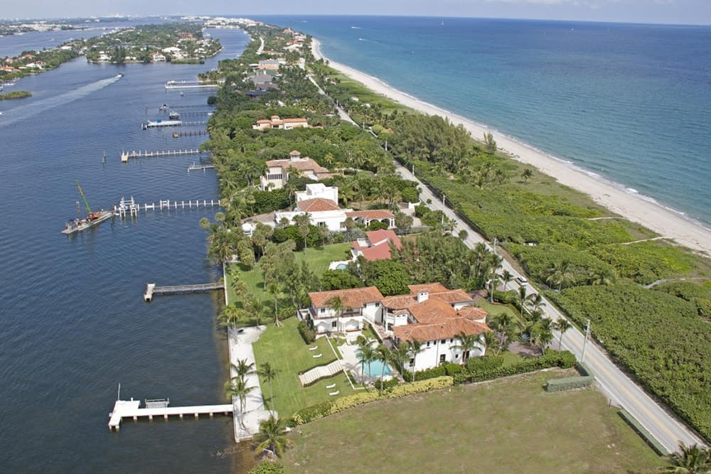 The aerial view of the estate shows the wonderful Florida coast.