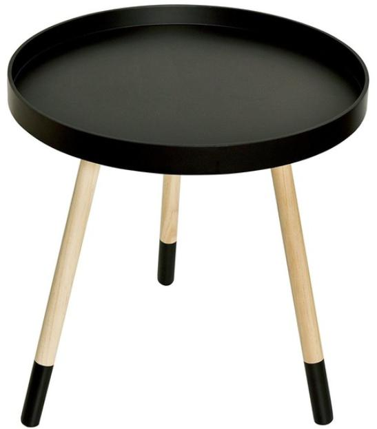 Three-legged black coffee table with a wooden base.