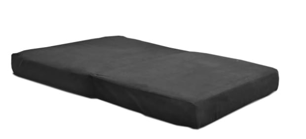 Black futon mattress. with an ultra soft finish.