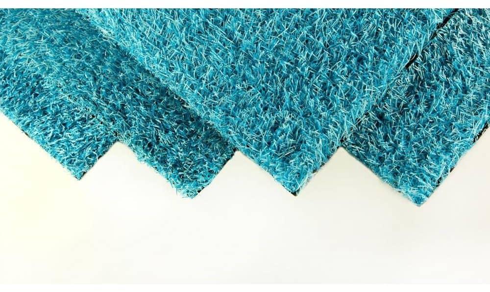 Blue artificial grass carpet.