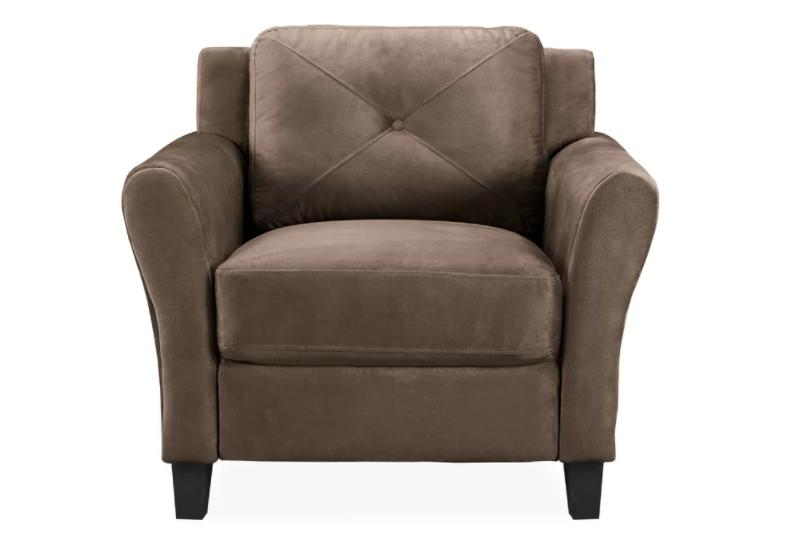 Brown, microfiber club chair with coil springs on its seat.