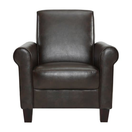 Brown, faux leather club chair with a smooth finish.