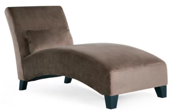 Brown, contemporary chaise lounge with a firm foam.