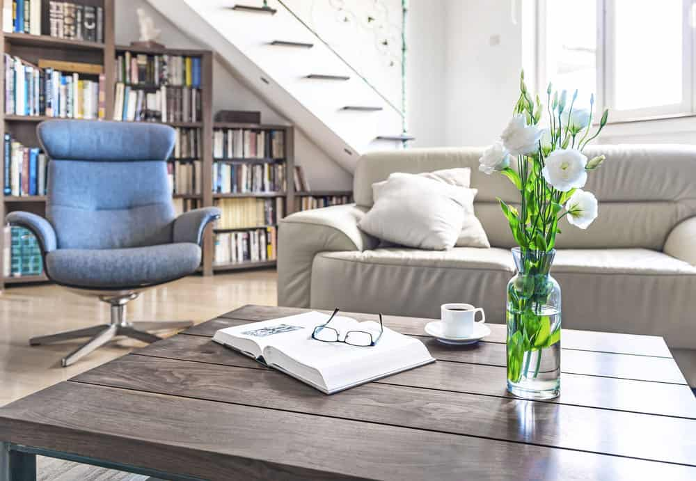 Large square coffee table in living room