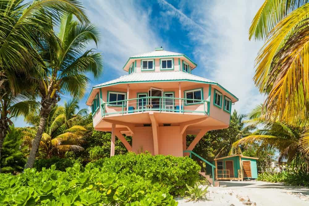 Concrete stilt house at Caye Caulker island, Belize