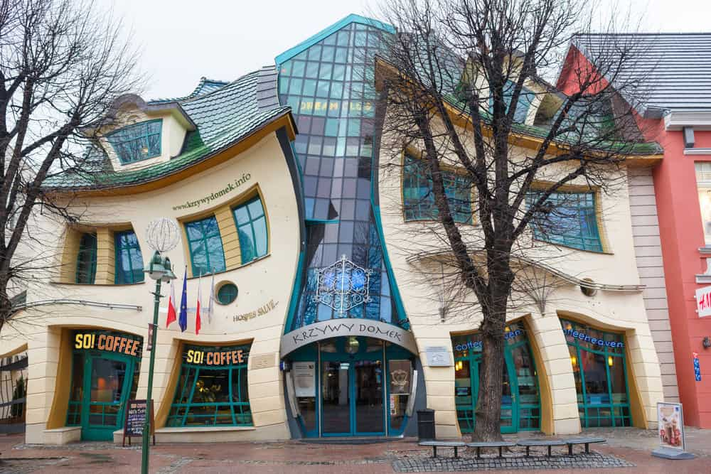 The Crooked House on the main street of Monte Cassino in Sopot, Poland