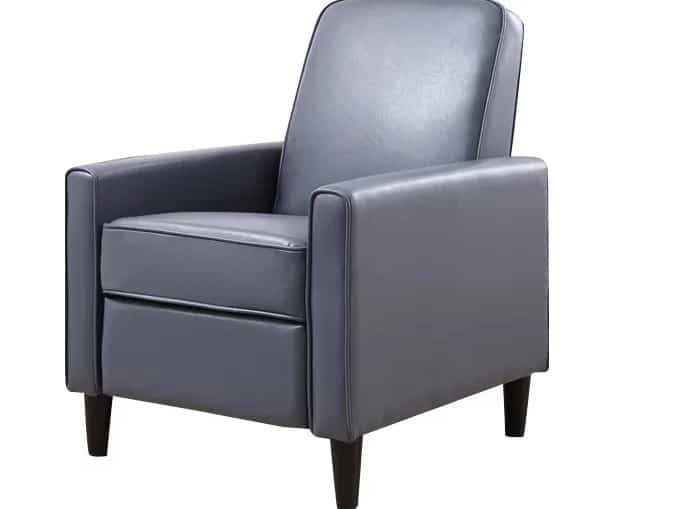 Manual recliner in a crystal blue finish.