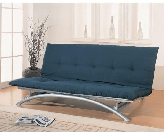 Metal futon in Silver with a curved structure.