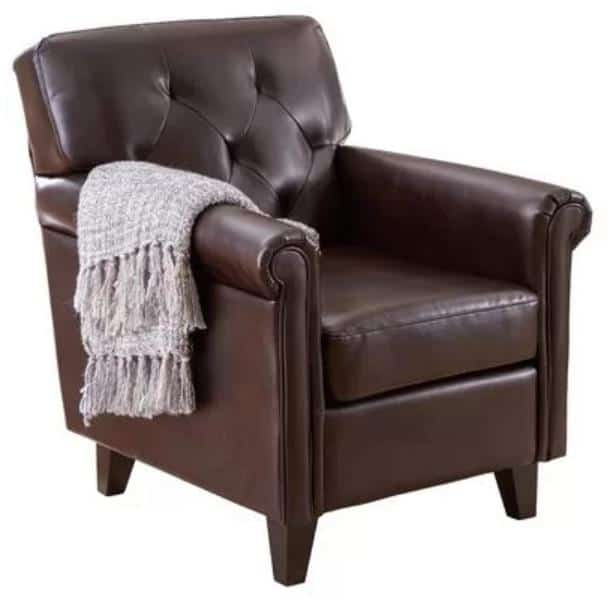 Classic faux leather club chair in dark brown.