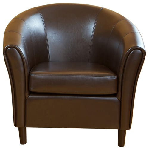 Smooth, leather club chair in Dark Brown.