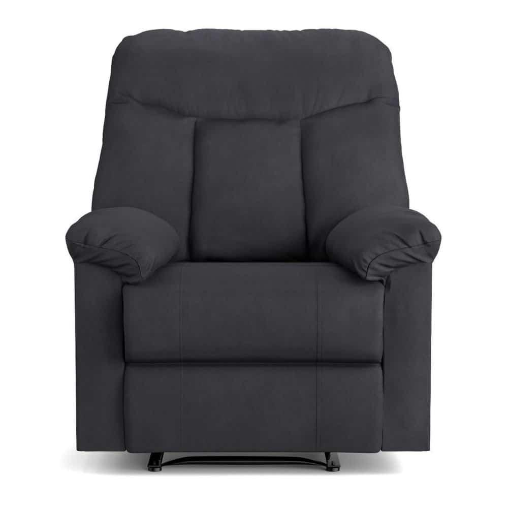 Soft, wall-hugging recliner in dark gray.