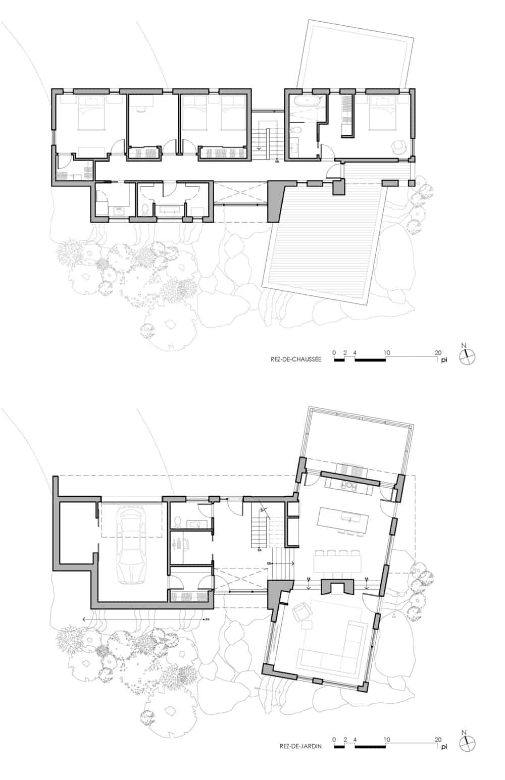 De La Canardière Residence blueprint of the house. Photo Credit: atelier BOOM-TOWN