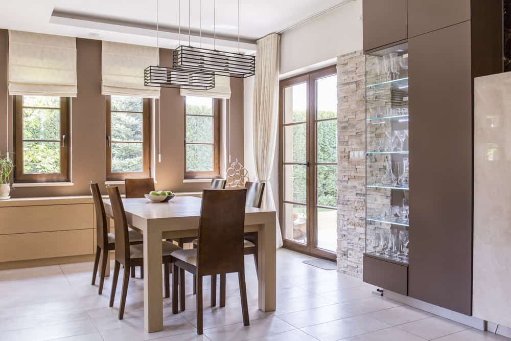 Dining room with window shades