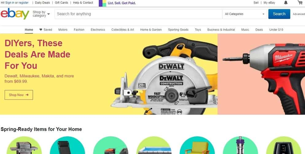 Ebay's home page.