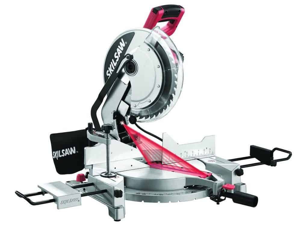 Quick-mount miter saw with laser.