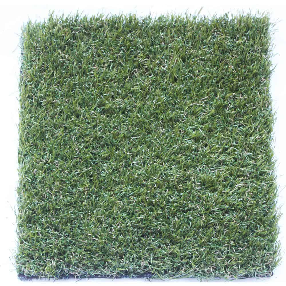 Emerald green artificial grass primarily made out of polyethylene.