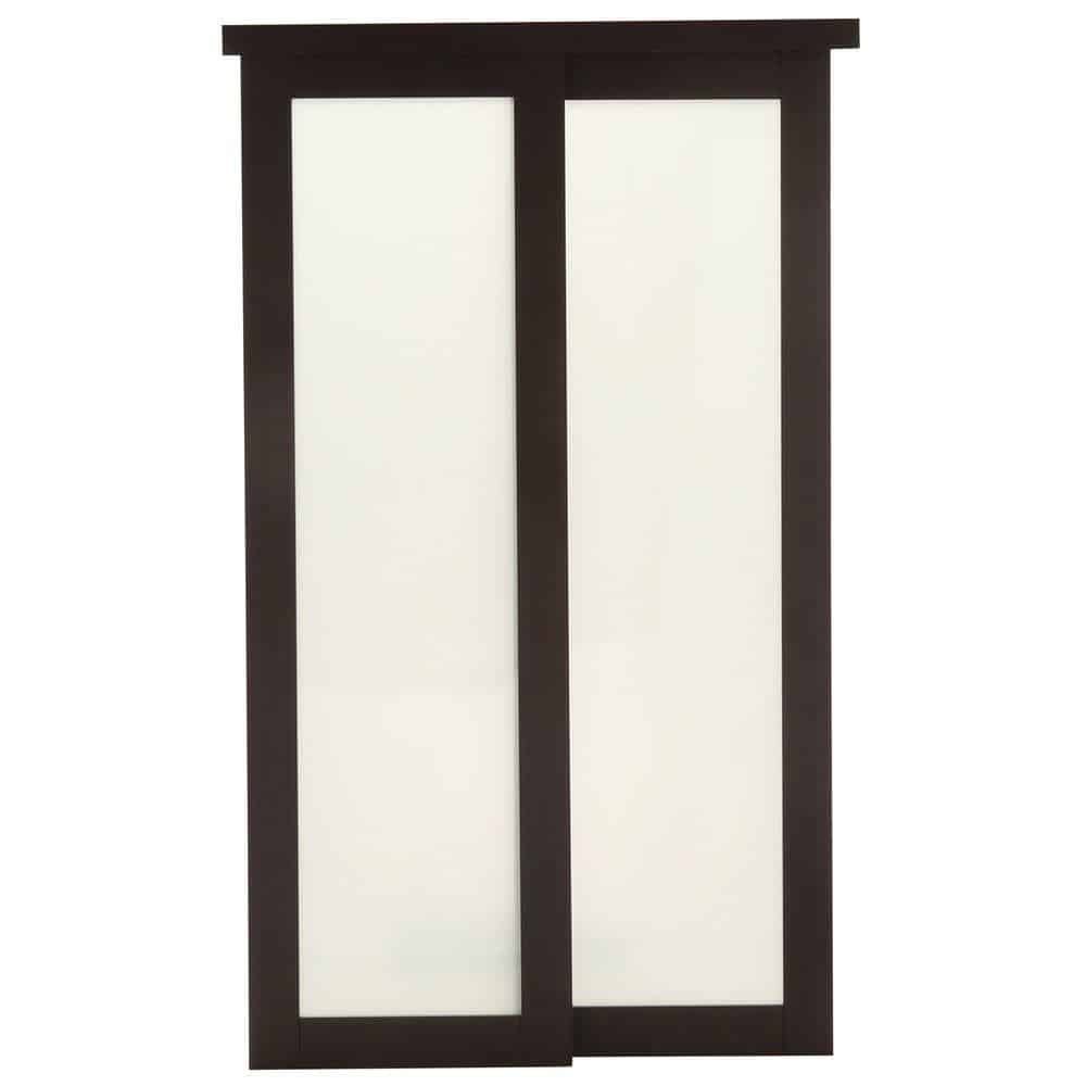 Wooden sliding door in an Espresso shade.
