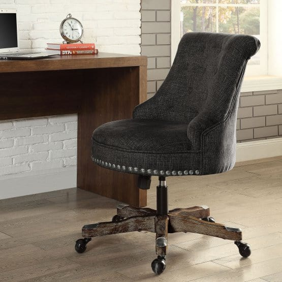 Desk chair with fabric upholstery (brown)