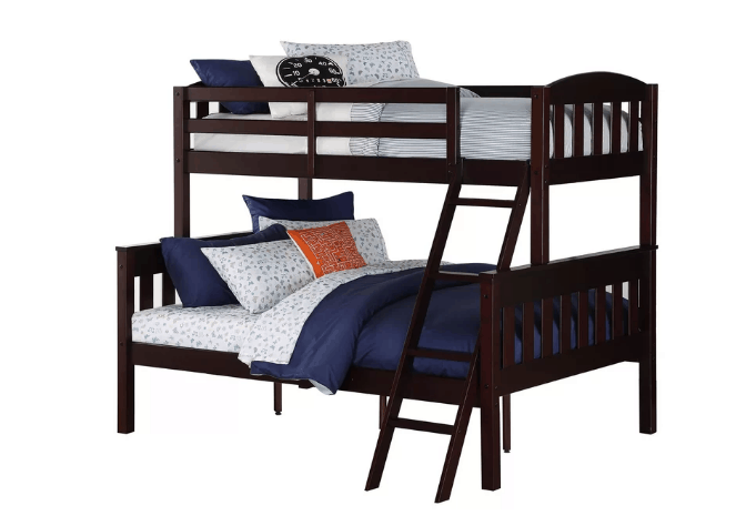 Full bunk bed with white-finished design with cast metal.